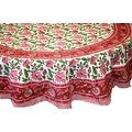 Handmade Lotus Flower Block Print 100% Cotton Tablecloth Red 60x60 Square 60x90 REctangle 72 Inch Round - 60 x 90 inches - Thumbnail 1