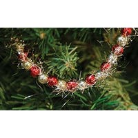 Red & Gold Bead & Tinsel Garland 9ft
