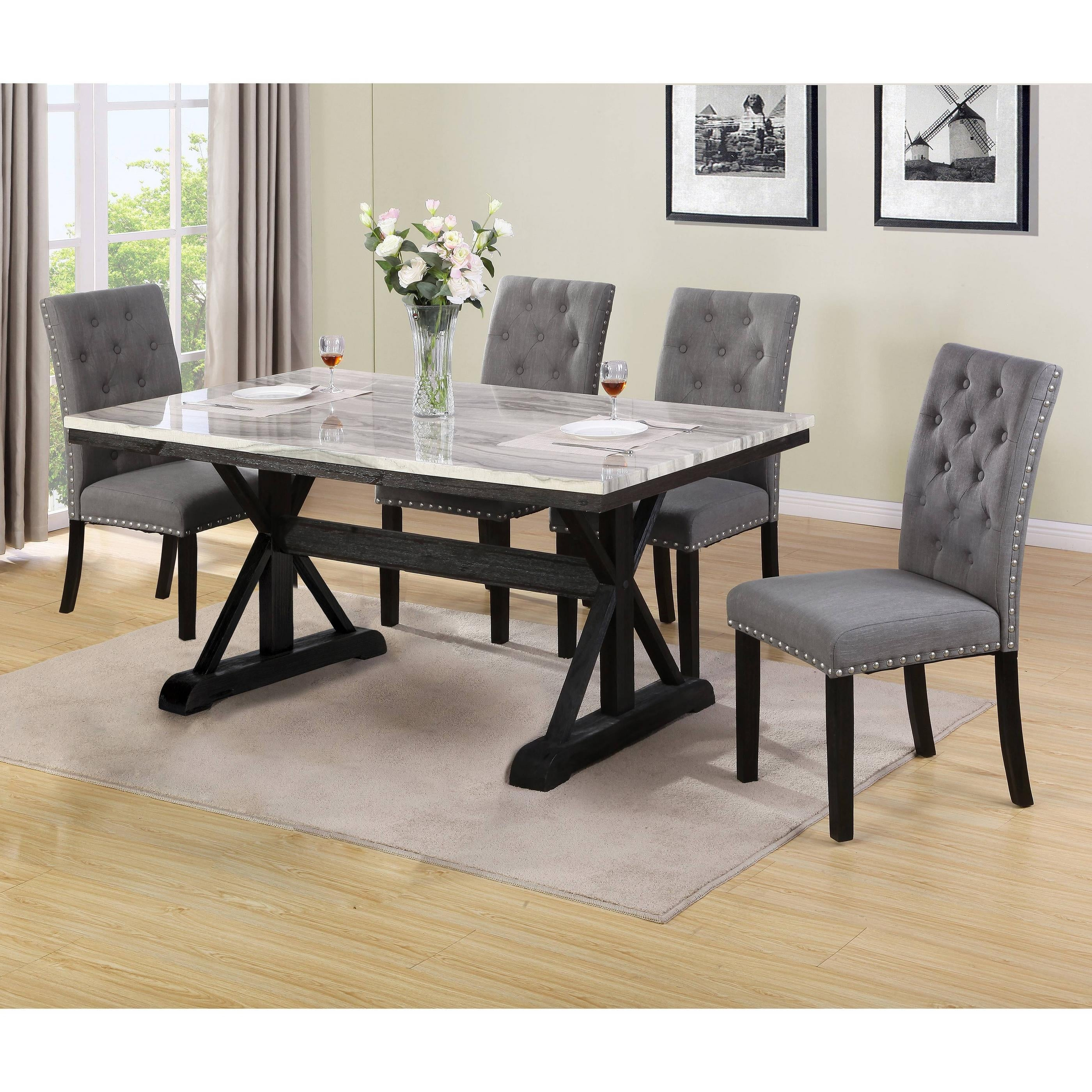 Best Quality Furniture Faux Marble Table Top 9 Piece Dining Set