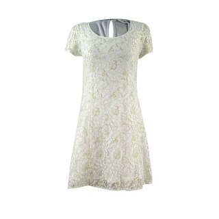 BCBGeneration Women's Metallic Lace Short Sleeve Dress (M, Whisper White) - Whisper White - M