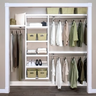 John Louis Home Woodcrest White Solid Wood Premier Closet Organizer