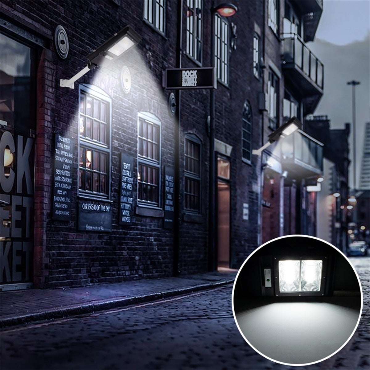 90W LED Solar Street Light Outdoor Gradent Path Wall Lamp Waterproof Light+Pole
