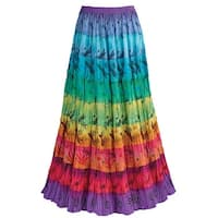 Women's Tiered Peasant Broomstick Skirt - Multi-Color Rainbow Print