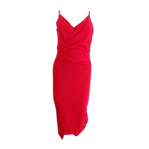 Betsey Johnson Women's Plus Size Draped Surplice Sheath Dress - Fire