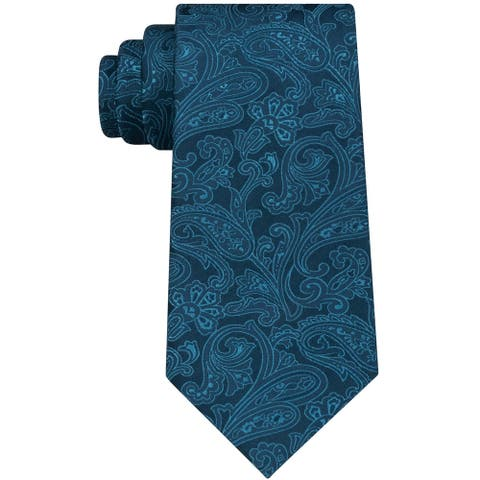 Michael Kors Mens Dress Code Paisley Self-tied Necktie, blue, One Size - One Size