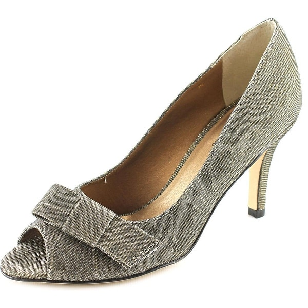 Vaneli Pimba Women N/S Peep-Toe Leather Silver Heels