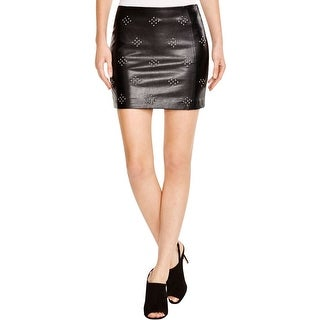 Lucy Paris Womens Mini Skirt Faux Leather Studded