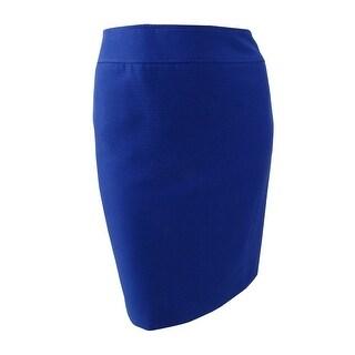 Tahari ASL Women's Petite Crinkle Pencil Skirt (6P, Lapis) - lapis - 6P
