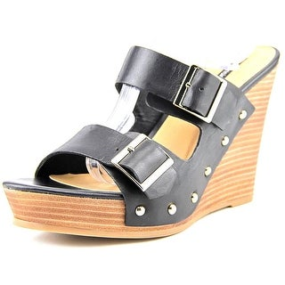 Kensie Reid Women  Open Toe Leather Black Wedge Heel