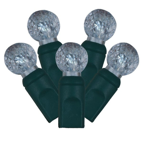 """Set of 100 Cool White LED Faceted G12 Berry Christmas Lights 4"""" Spacing - Green Wire"""