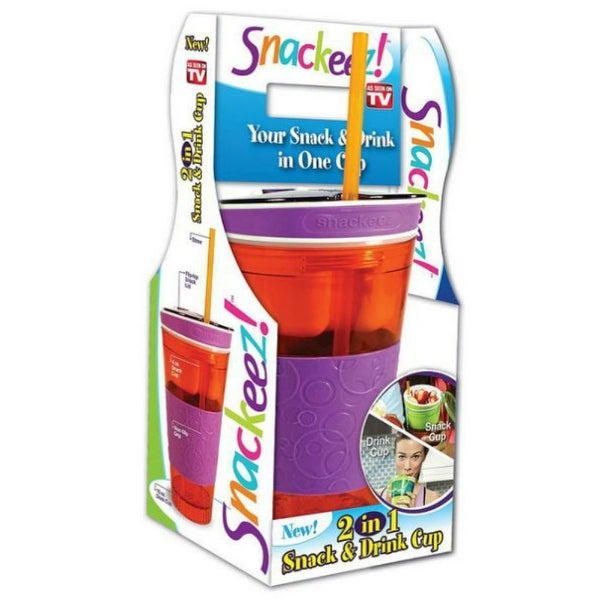 Snackeez SNAKZ 2 in 1 Snack & Drink One Cup Holder