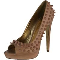 Luichiny Women's Back At Ya Spike High Heel Pumps - Nude