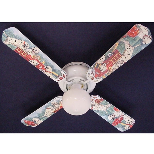 Dalmatian Puppies Fire truck Print Blades 42in Ceiling Fan Light Kit - Multi
