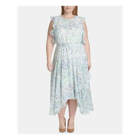 TOMMY HILFIGER Womens White Printed Tea-Length Sheath Dress Size 20W