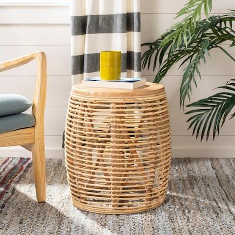 "Safavieh Maui Rattan Drum Stool Table -Natural - 17.7"" x 17.7"" x 18.9"""