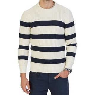 Nautica NEW White Ivory Blue Mens Size XL Stripe Crewneck Sweater