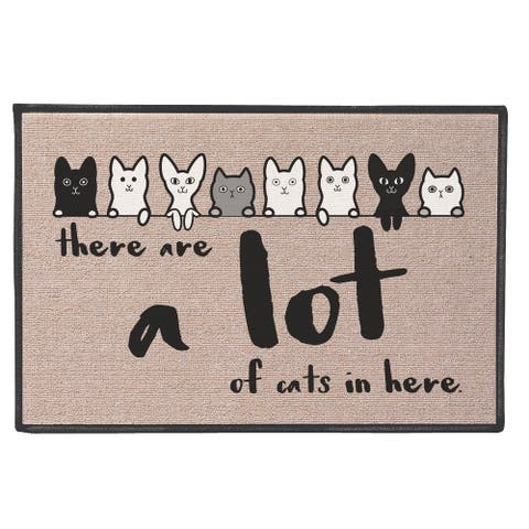 What On Earth There Are A Lot Of Cats Mat - Funny Olefin Welcome Door Mat - Beige - 27 in. x 18 in.