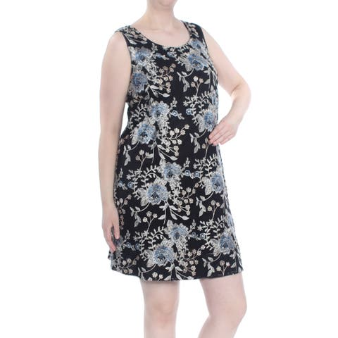 ROBBIE BEE Womens Black Embroidered Floral Sleeveless Above The Knee Dress Plus Size: 2X