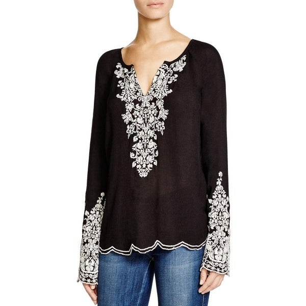 Moon & Meadow Womens Peasant Top Embroidered Split Neck