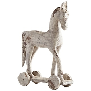 Cyan Design 08965L  Carry On Wood Horse Toy Statue - Antique White