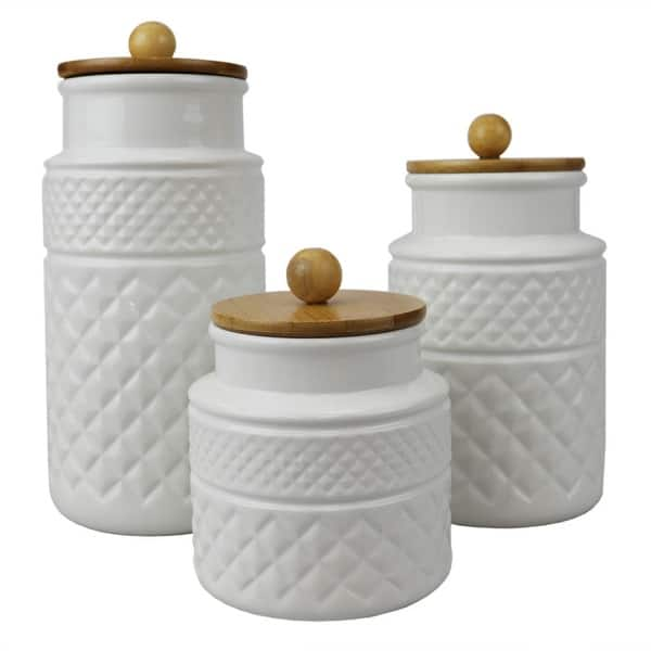 3 Piece Embossed Ceramic Canister With Bamboo Tops White Overstock 32410182