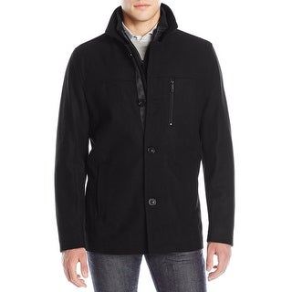 Kenneth Cole NEW Solid Black Mens Size Large L Button Full-Zip Coat