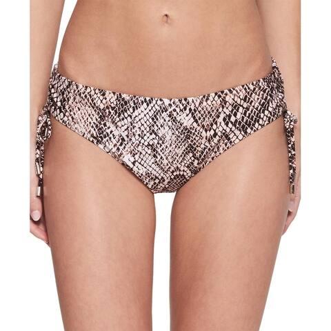 Calvin Klein Womens Chameleon Printed Side-Tie Bikini Bottom, Nectar, Large