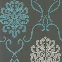 Brewster DL30443 Suzette Aqua Modern Damask Wallpaper - N/A