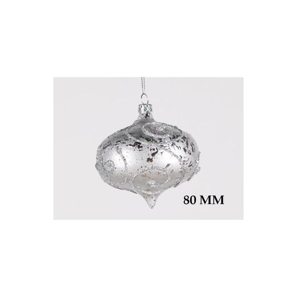 Christmas at Winterland WL-ONION-80-SLV 3 Inch Onion Ornament Silver with Silver Glitter - N/A