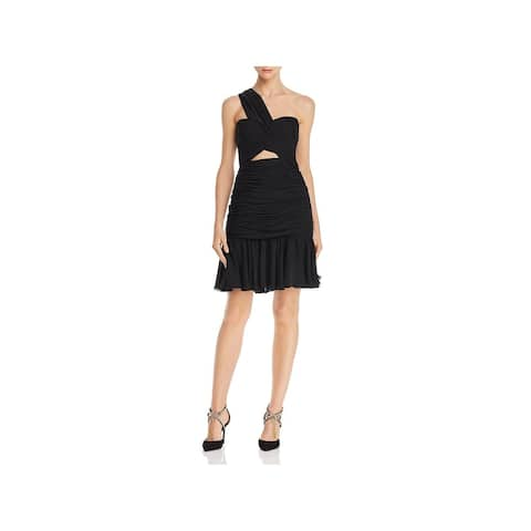 JILL Jill Stuart Womens Cocktail Dress One Shoulder Cut-Out - Black