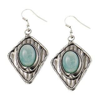 Anju Jewelry Women's Amazonite Cabochon Dangle Earrings - Silverplated Brass