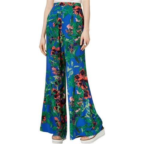 Rachel Roy Womens Printed Casual Wide Leg Pants