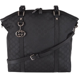 NEW Gucci 339551 BLACK Nylon GG Guccissima Convertible Large Dome Purse
