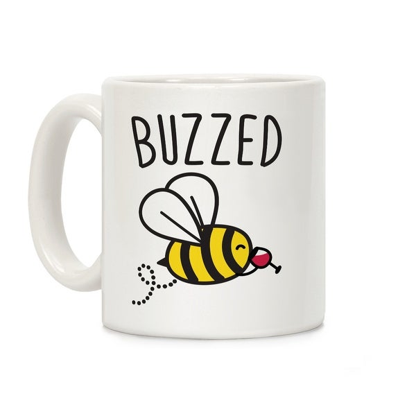 fdbc2b9b Shop Buzzed Wine Bee White 11 Ounce Ceramic Coffee Mug by LookHUMAN - Free  Shipping On Orders Over $45 - Overstock - 19219274