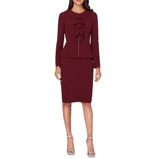 Tahari Arthur S. Levine Ruffled Long Sleeve Jacket Skirt Suit - 8