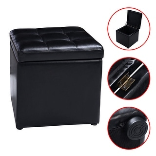 Costway 16u0027u0027Cube Ottoman Pouffe Storage Box Lounge Seat Footstools with Hinge Top black  sc 1 st  Overstock.com & Buy Black Leather Ottomans u0026 Storage Ottomans Online at Overstock ...