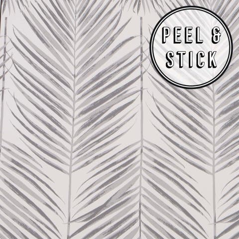Transform Grey Palm Leaves Peel and Stick Wallpaper