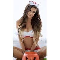 919957ff241 Cheeky Nurse Lingerie Costume - White Red - One Size Fits Most