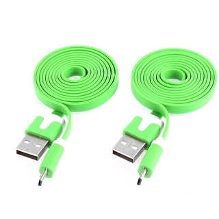 2 Pcs Green USB 2.0 to Micro USB 5 Pin Flat Data Sync Charger Cable Line 1M