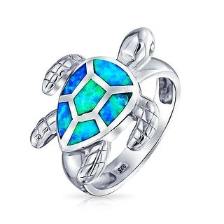 Bling Jewelry Sterling Silver Synthetic Blue Opal Inlay Nautical Sea Turtle Ring