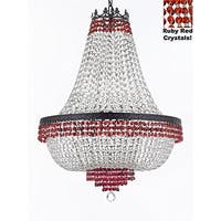 Crystal Chandelier Trimmed with Red Crystal