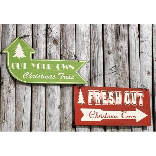 "Club Pack of 12 Red and Green ""Fresh Cut"" and ""Cut Your Own"" Christmas Tree Signs 12"""