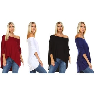 Isaac Liev Off Shoulder Hi Low Hem Loose Tunic Top