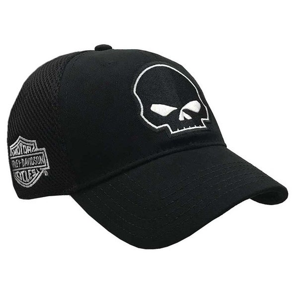 1aae12375ef Shop Harley-Davidson Willie G Skull Black Baseball Cap Stretch Fit BC119930  - Free Shipping On Orders Over  45 - Overstock - 18802764