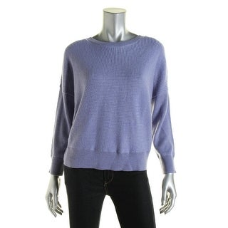 Eileen Fisher Womens Petites Wool Ribbed Trim Pullover Sweater