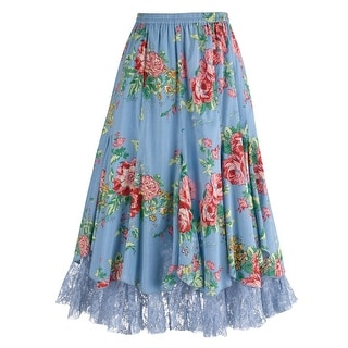 """Women's Cabbage Rose Tulle Skirt - Blue Floral Print - 28"""" Long"""