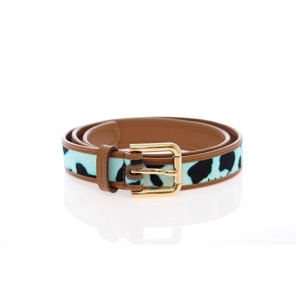 Dolce & Gabbana Blue Leopard Leather Logo Belt