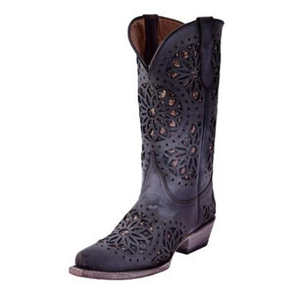 Ferrini Western Boots Womens Shabby Chic Snip Toe Pull Straps