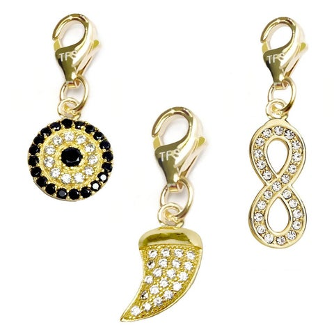 Julieta Jewelry Horn, Lucky Eye, Infinity Sign 14k Gold Over Sterling Silver Clip-On Charm Set