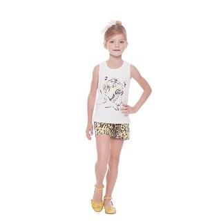 Girl Outfit Graphic Tank Top and Cheetah Print Shorts Set Pulla Bulla 2-10 Years